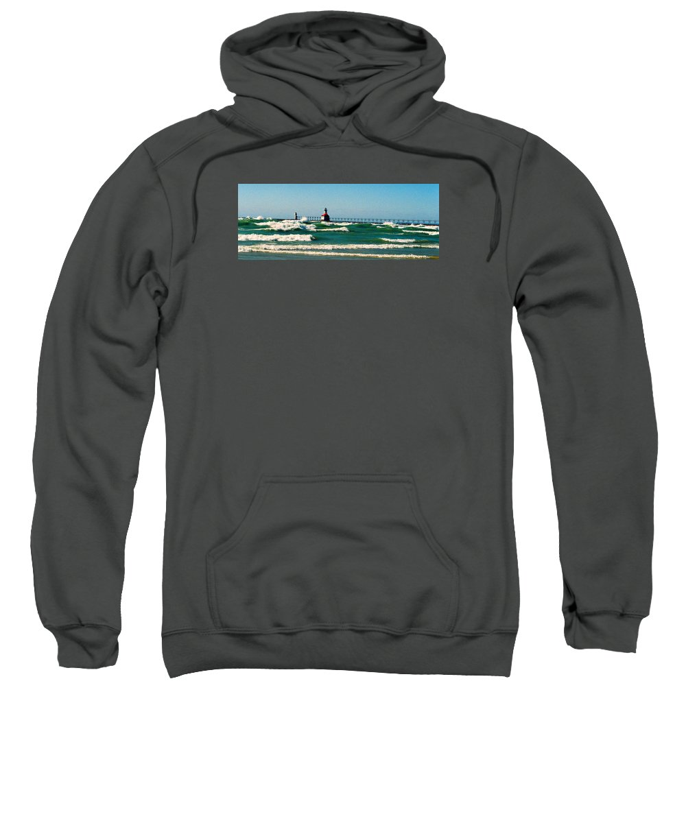 Stevensville Sweatshirt featuring the photograph St. Joseph River Lighthouse by Daniel Thompson