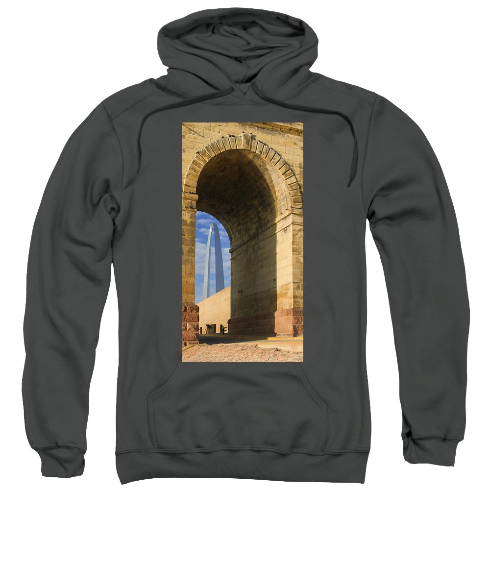 Arch Sweatshirt featuring the photograph St Louis Arch And Eads Bridge  by Garry McMichael