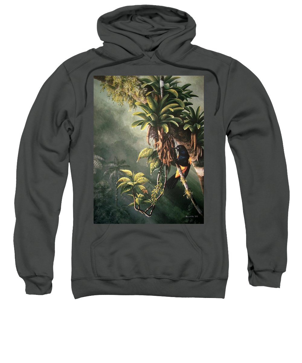 Chris Cox Sweatshirt featuring the painting St. Lucia Oriole in bromeliads by Christopher Cox