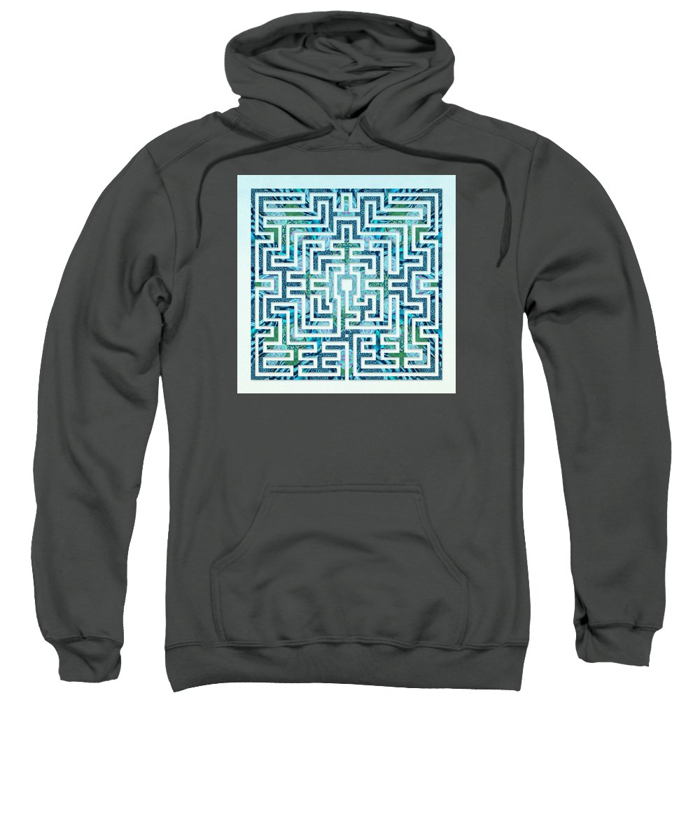 Labyrinth Art Sweatshirt featuring the digital art St Omer - Blues by Fine Art Labyrinths