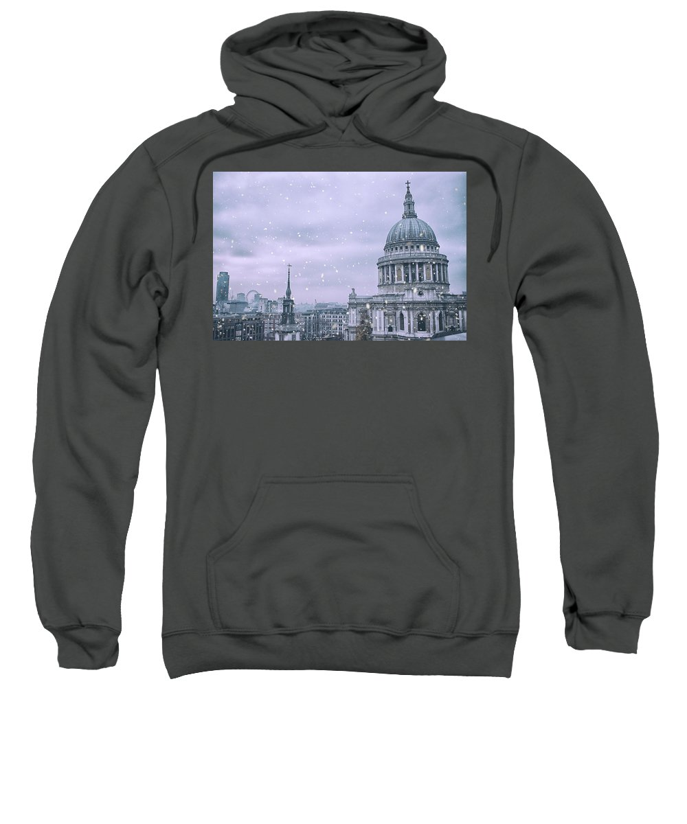 Winter Sweatshirt featuring the photograph St Pauls Snow by Martin Newman