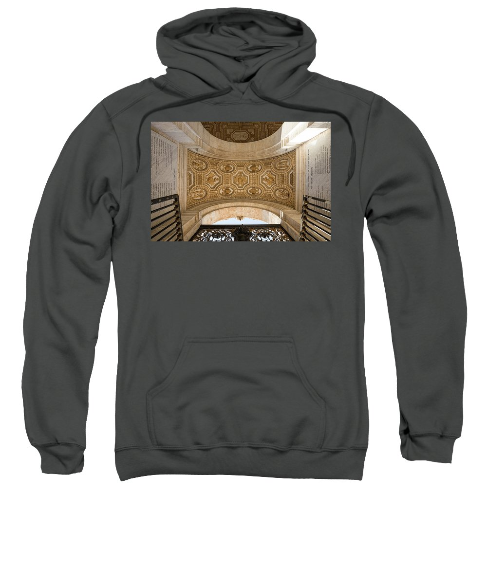 St Peter�s Basilica Christianity Cathedral Church Holy Monument Pope Balcony San Pietro Rome Europe European Italy Italia Rome Roma Roman History Historic Beautiful Style Romantic Romance Summer In Italy Landmark Monument Capital Tiber Architecture Architectural Buildings Weathered Summer In Rome Red Brick Sweatshirt featuring the photograph St Peter's Ceiling Detail by Michael Evans