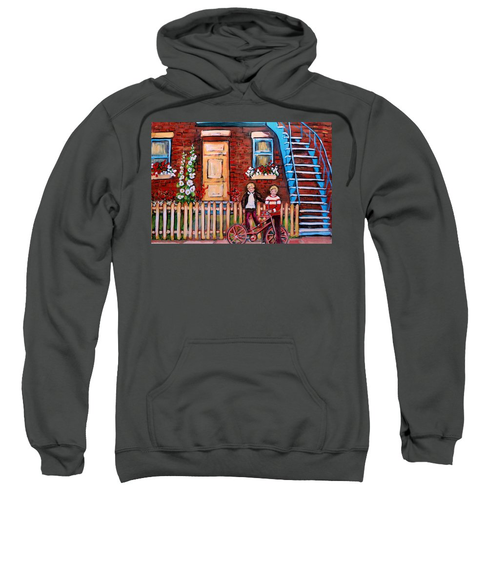 Montreal Neighborhoods Sweatshirt featuring the painting St. Urbain Street Boys by Carole Spandau