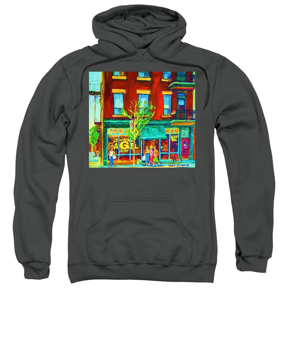 St. Viateur Bagel Shop Sweatshirt featuring the painting St Viateur Bagel Shop by Carole Spandau