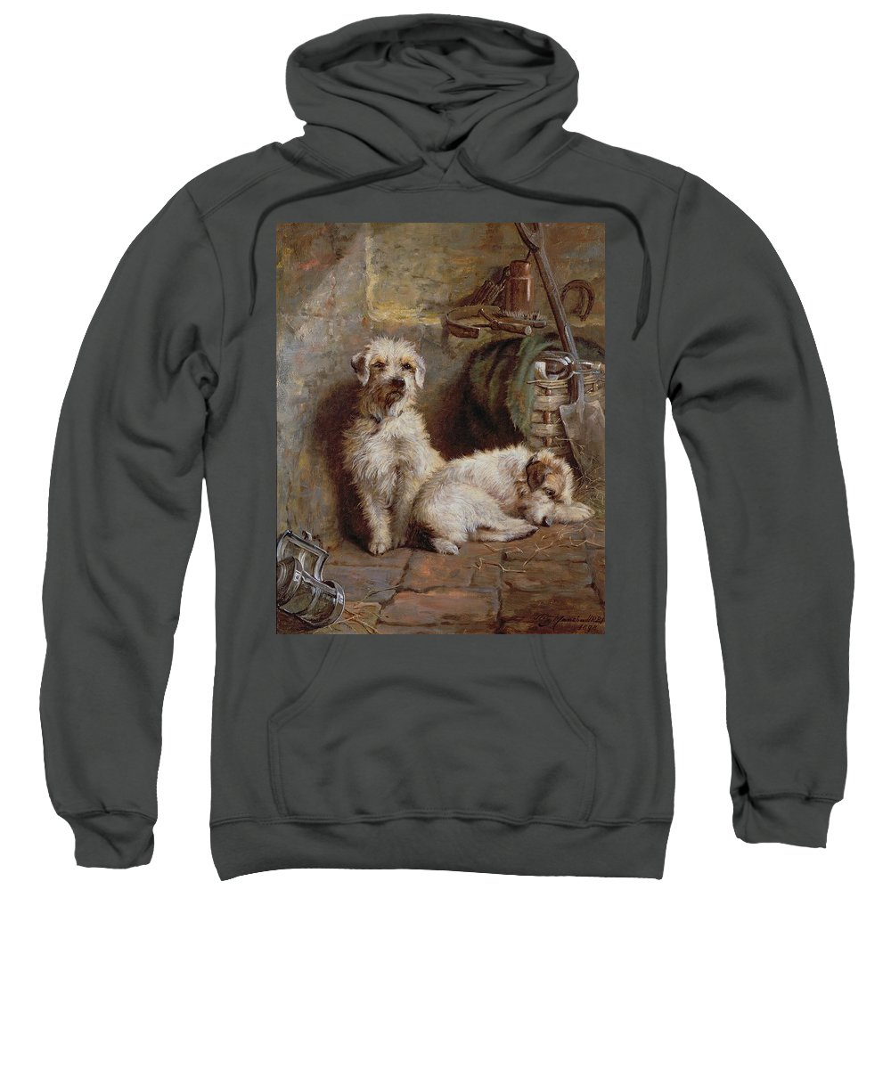 Dogs; Terriers; Tools; Stable; Basket; Spade; Lantern; Bottle; Horseshoe Sweatshirt featuring the painting Stablemates by John Fitz Marshall
