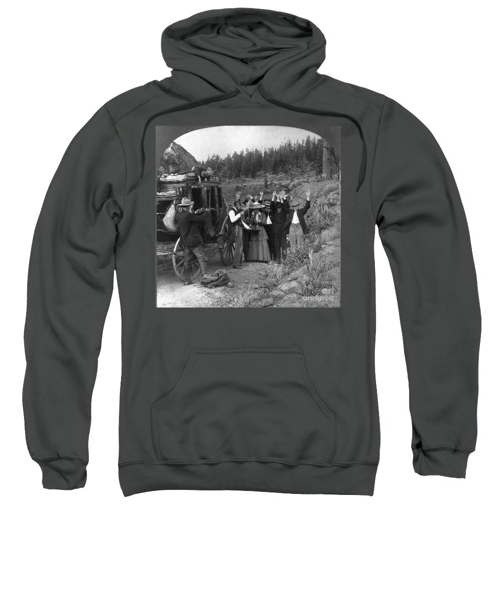 1911 Sweatshirt featuring the photograph Stagecoach Robbery, 1911 by Granger
