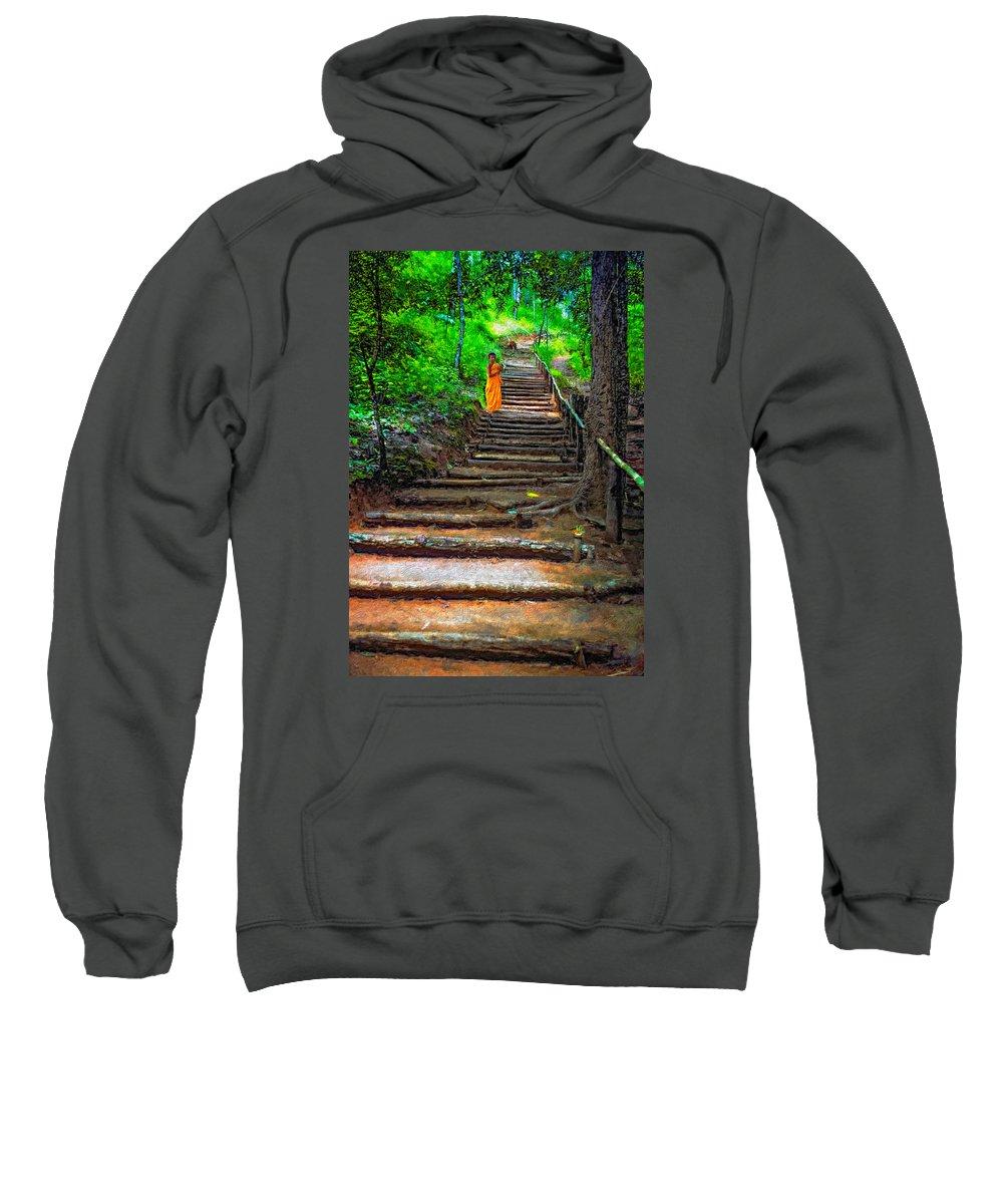 Jungle Sweatshirt featuring the photograph Stairway To Heaven Impasto by Steve Harrington