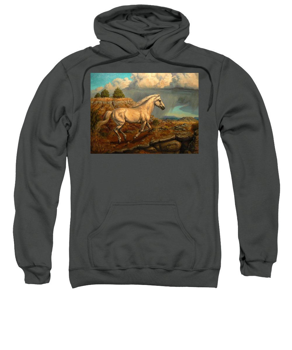Wildlife Sweatshirt featuring the painting Stallion's Overlook by Kerry Nelson