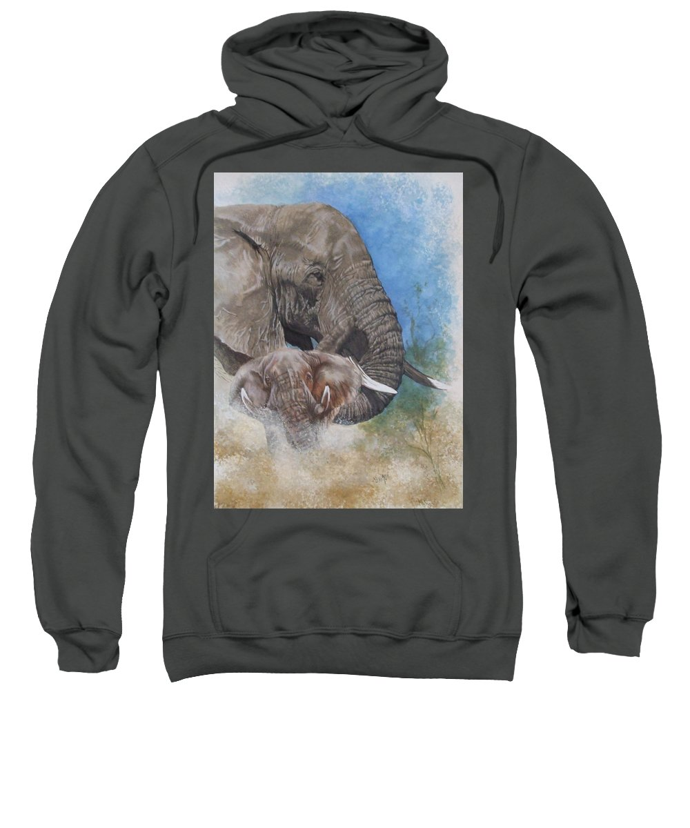 Elephant Sweatshirt featuring the mixed media Stalwart by Barbara Keith
