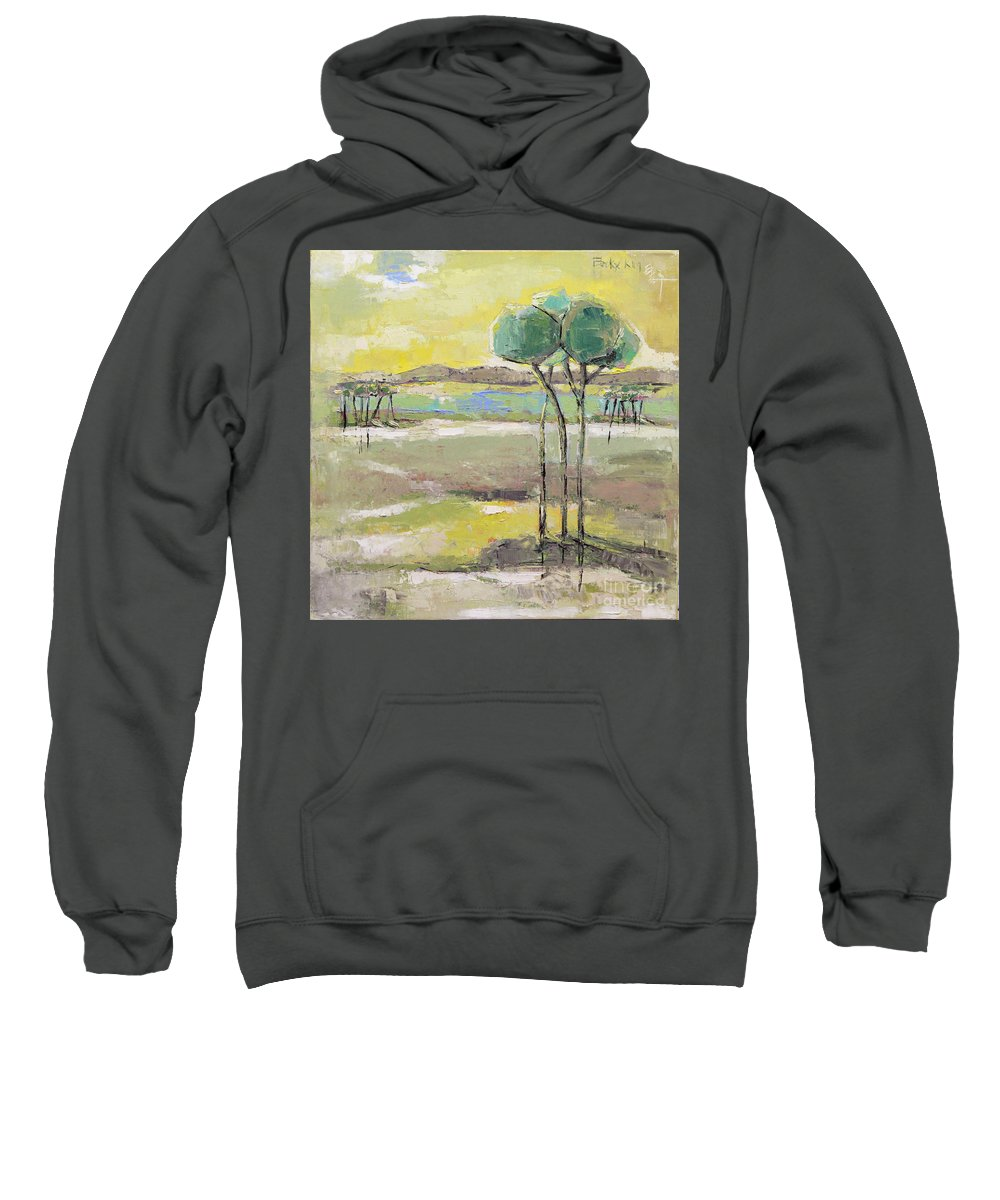 Landscape Sweatshirt featuring the painting Standing In Distance by Becky Kim