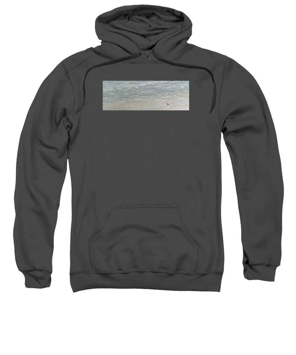 Seascape Sweatshirt featuring the painting Standing by the Ocean Door by Lea Novak