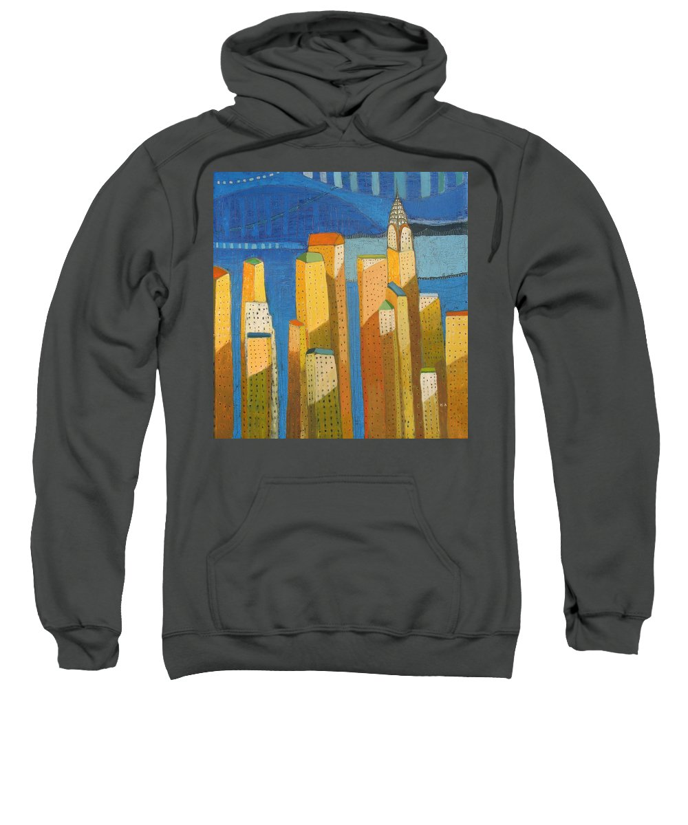 Abstract Cityscape Sweatshirt featuring the painting Standing High by Habib Ayat