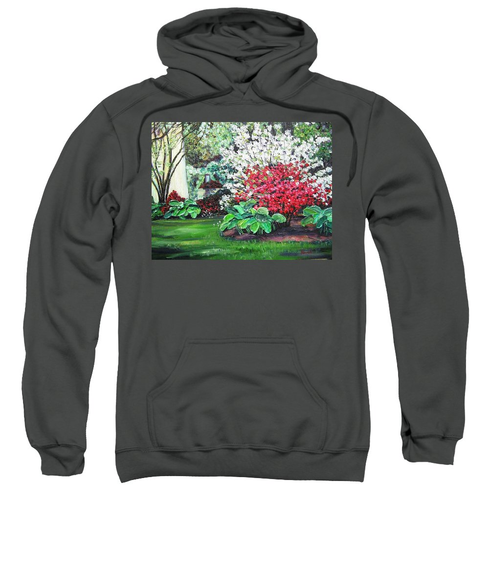 Blossoms Sweatshirt featuring the painting Stanely Park Blossoms by Richard Nowak