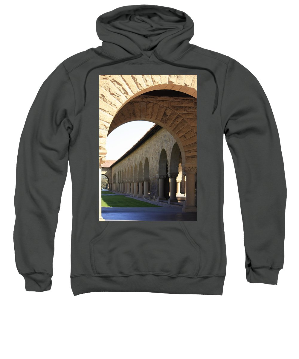 Stanford University Sweatshirt featuring the photograph Stanford Memorial Court Arches I by Linda Dunn