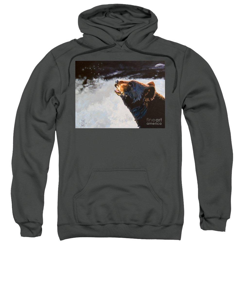 Bear Sweatshirt featuring the painting Star Gazer by J W Baker