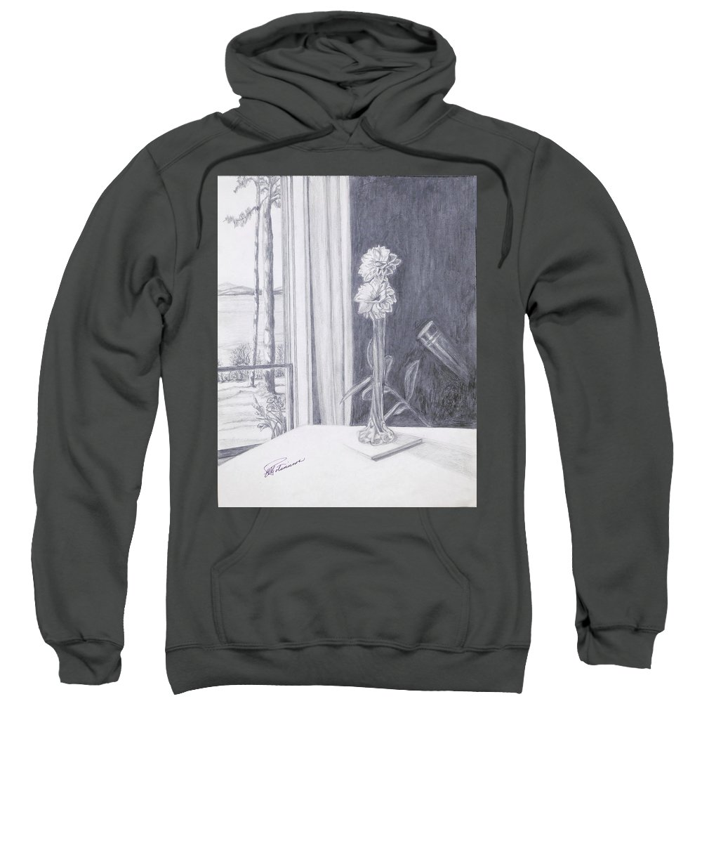 Flowers Sweatshirt featuring the drawing Star Gazing by Elly Potamianos