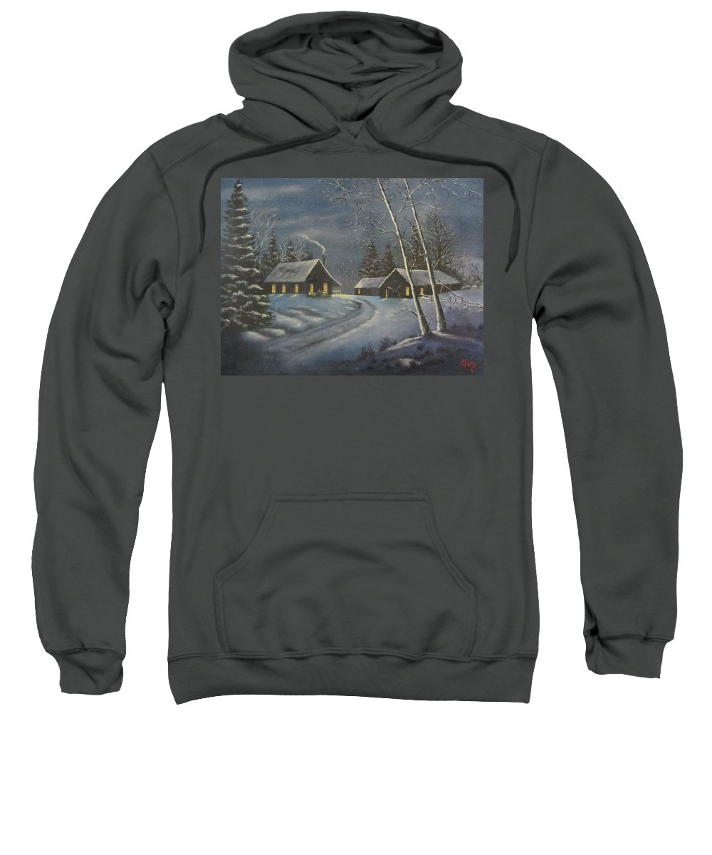 Winter Sweatshirt featuring the painting Starry Night by Terry Boulerice