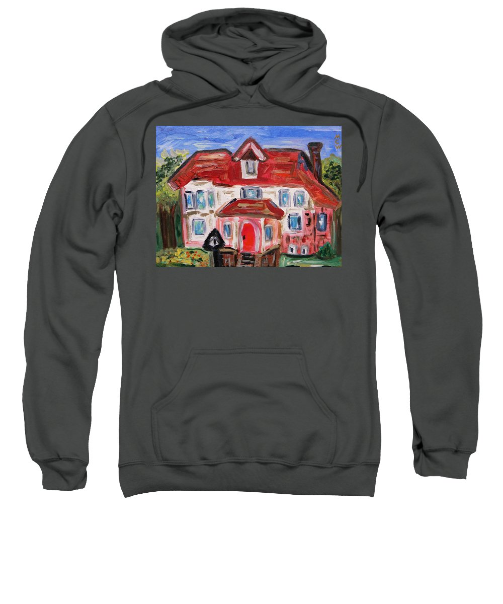 Urban Sweatshirt featuring the painting Stately City House by Mary Carol Williams
