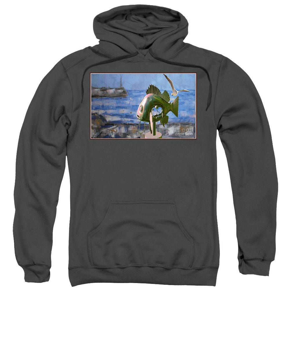 Modern Painting Sweatshirt featuring the mixed media Statue Of Fish 113 by Pemaro