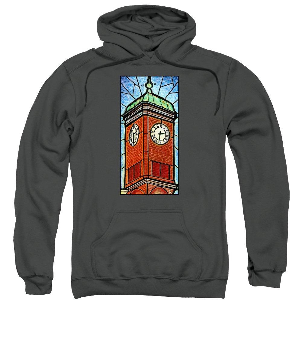 Clocks Sweatshirt featuring the painting Staunton Clock Tower Landmark by Jim Harris
