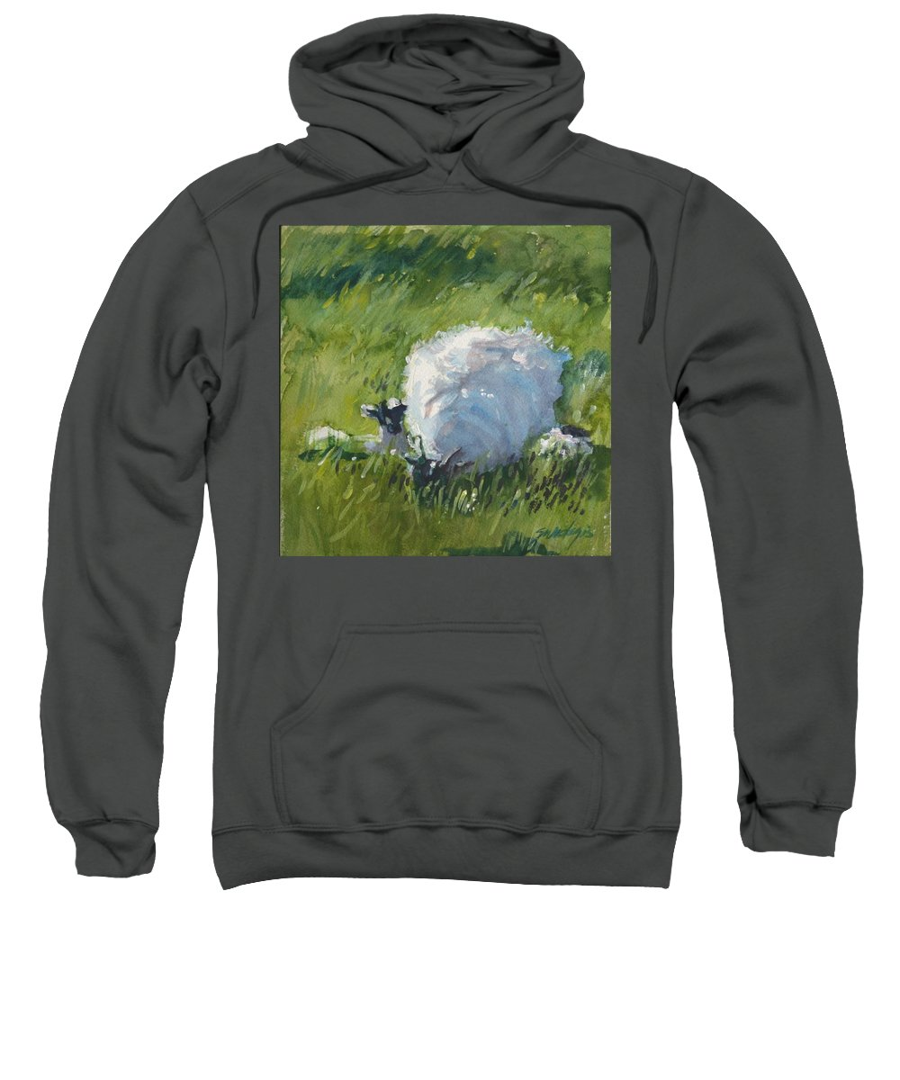 Sheep Sweatshirt featuring the painting Stay Close To Mum by Sheila Wedegis