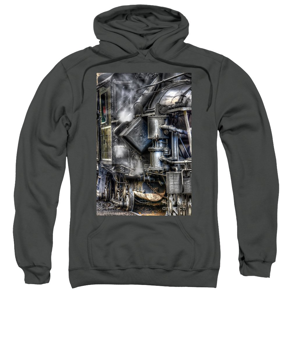Antiquated Sweatshirt featuring the photograph Steam Engine Detail by Jerry Fornarotto