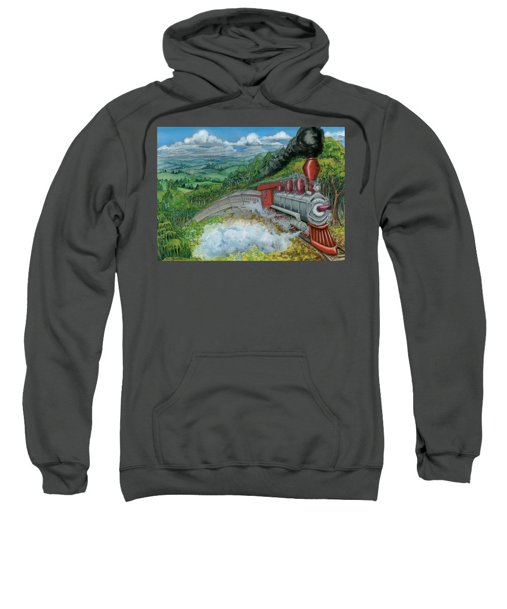 Train Sweatshirt featuring the painting Steam Train by Kevin Middleton