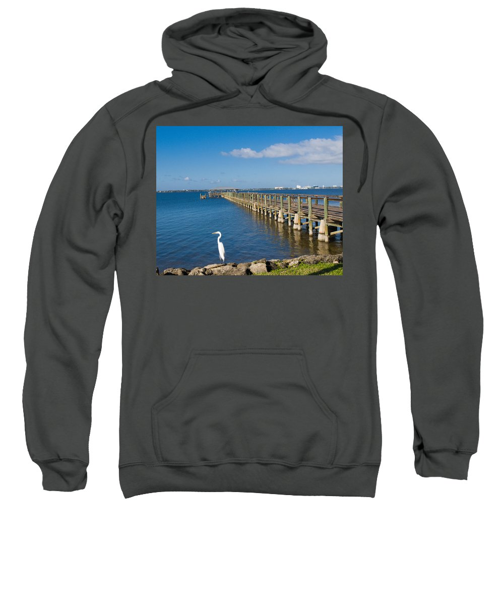 Florida; Melbourne; Beach; Atlantic; Coast; East; Space; Pier; Pineapples; Steamboat; Load; Cargo; I Sweatshirt featuring the photograph Steamboat Landing Ot Melbourne Beach In Florida by Allan Hughes