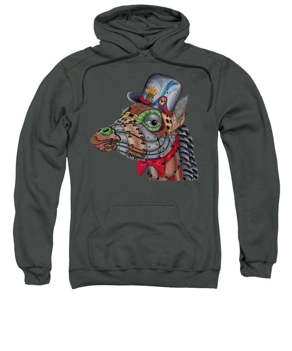Giraffe Sweatshirt featuring the painting Steampunk G by Linda McMillen