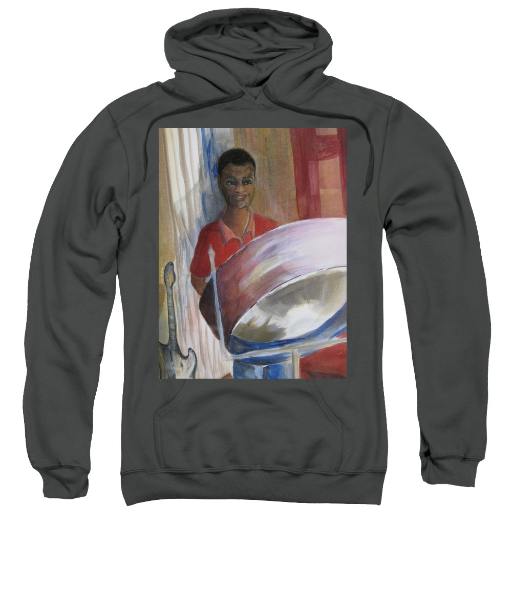 Bahamas Sweatshirt featuring the painting Steel Drums by Donna Steward
