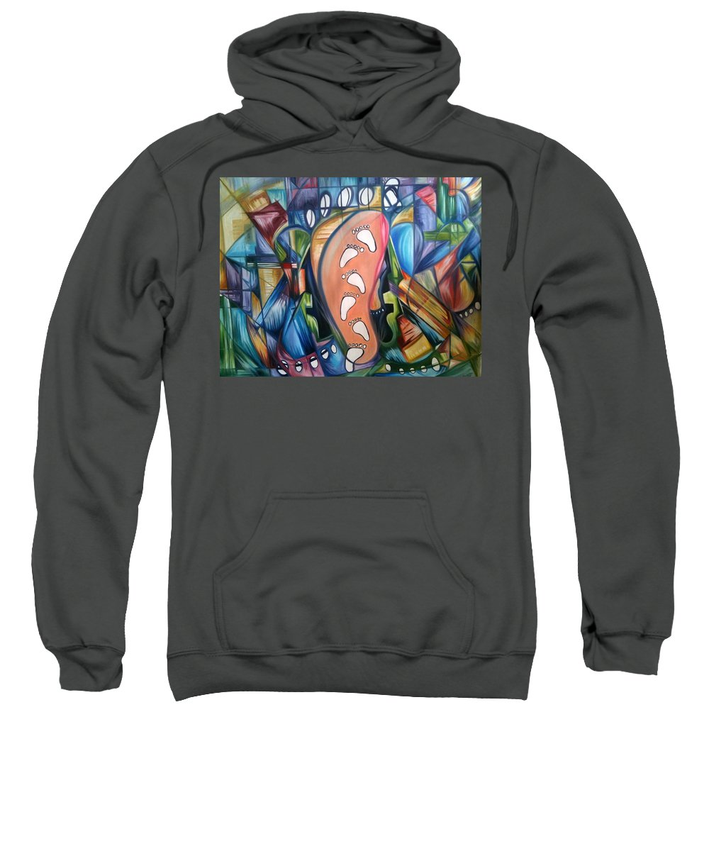 Abstract Sweatshirt featuring the painting Stepping Into The Future by Olaoluwa Smith