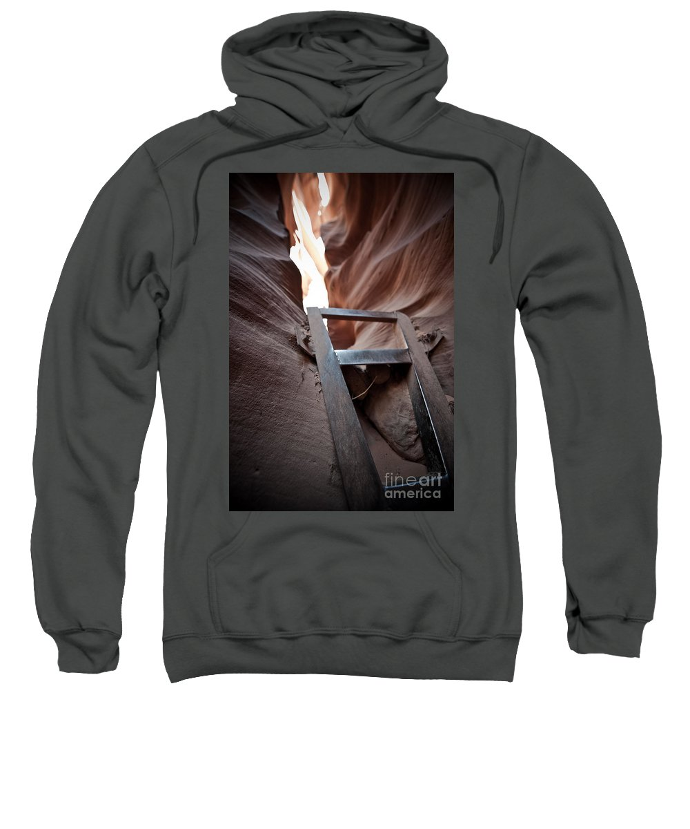 Slot Canyon Sweatshirt featuring the photograph Steps In A Slot by Scott Sawyer