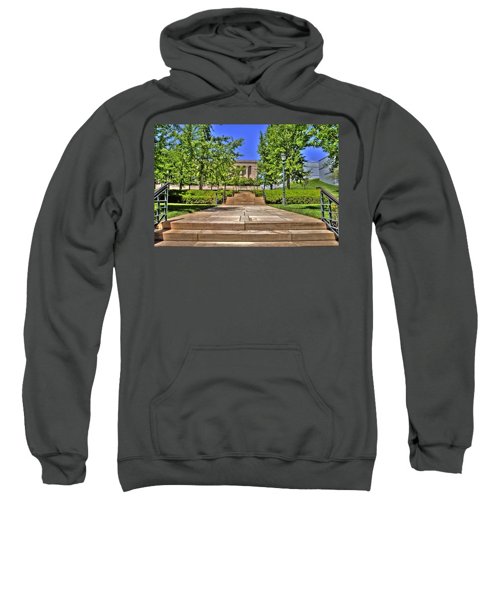 Hdr Sweatshirt featuring the photograph Steps To The Nelson by Timothy Bischoff