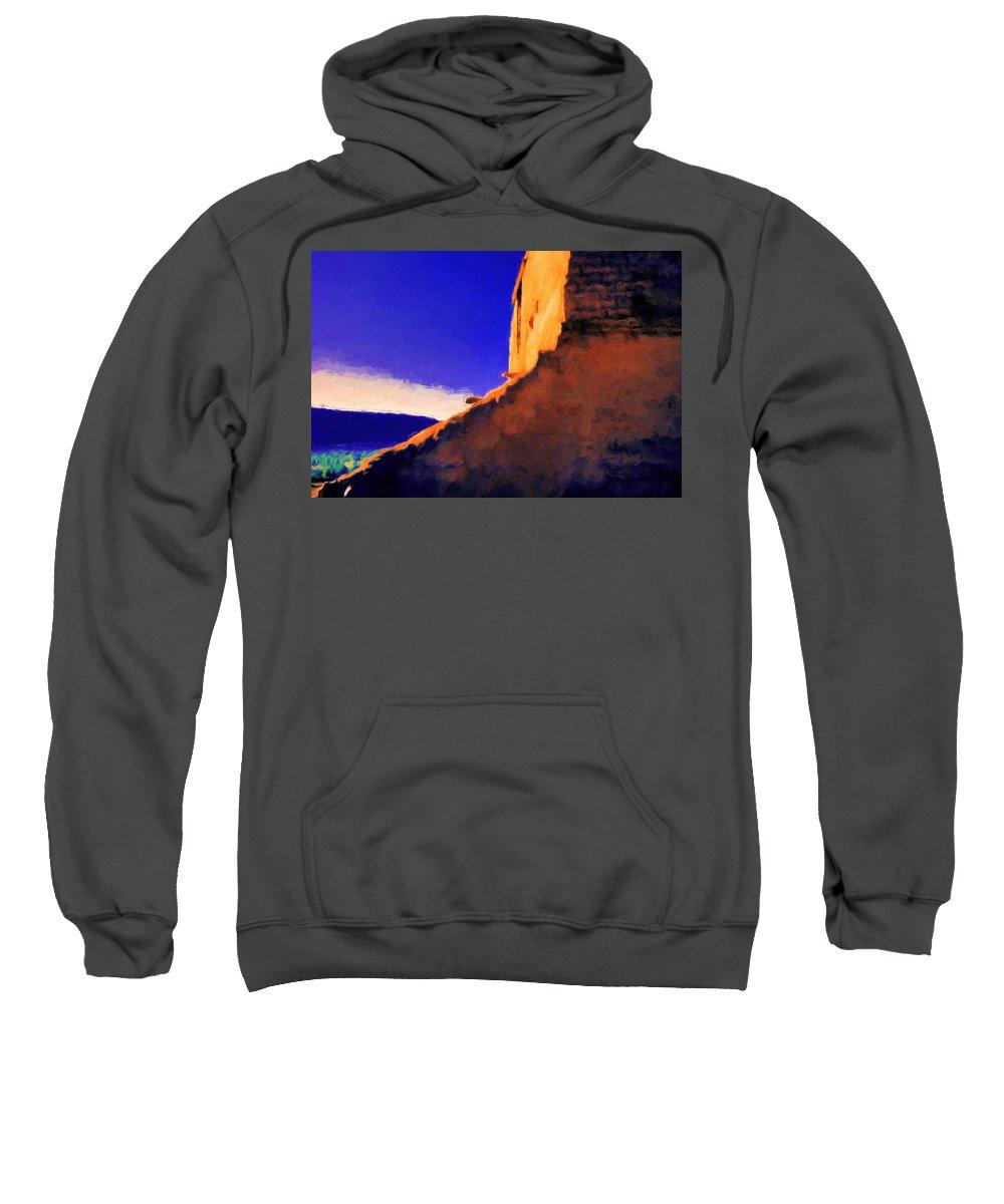 Pecos Sweatshirt featuring the painting Still Rising by Jim Buchanan
