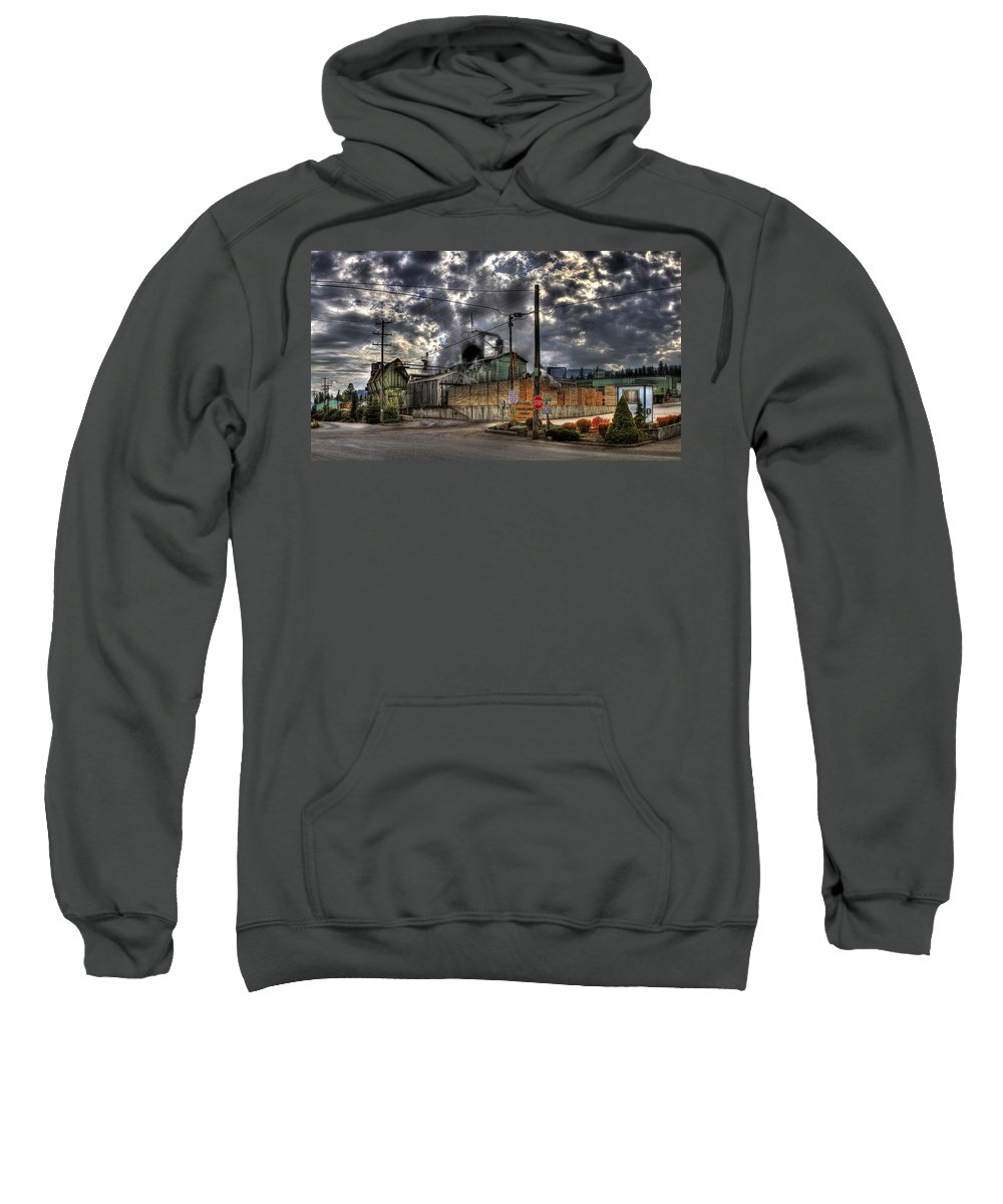 Hdr Sweatshirt featuring the photograph Stimson Lumber Mill by Lee Santa