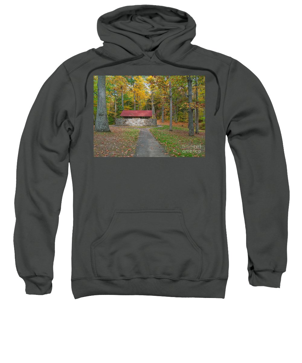 Autumn Sweatshirt featuring the photograph Stone Building In The Park by Kathleen Rinker