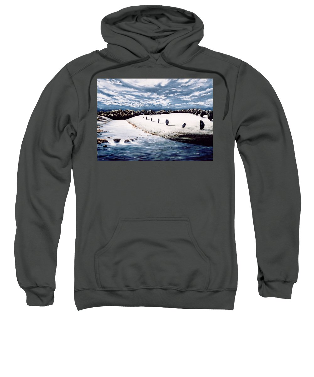 Stoneage Sweatshirt featuring the painting Stone Delusion by Mark Cawood