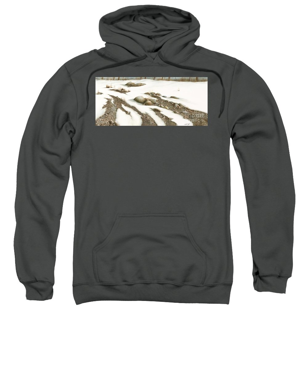Snow Sweatshirt featuring the painting Stone Flow by Mike England