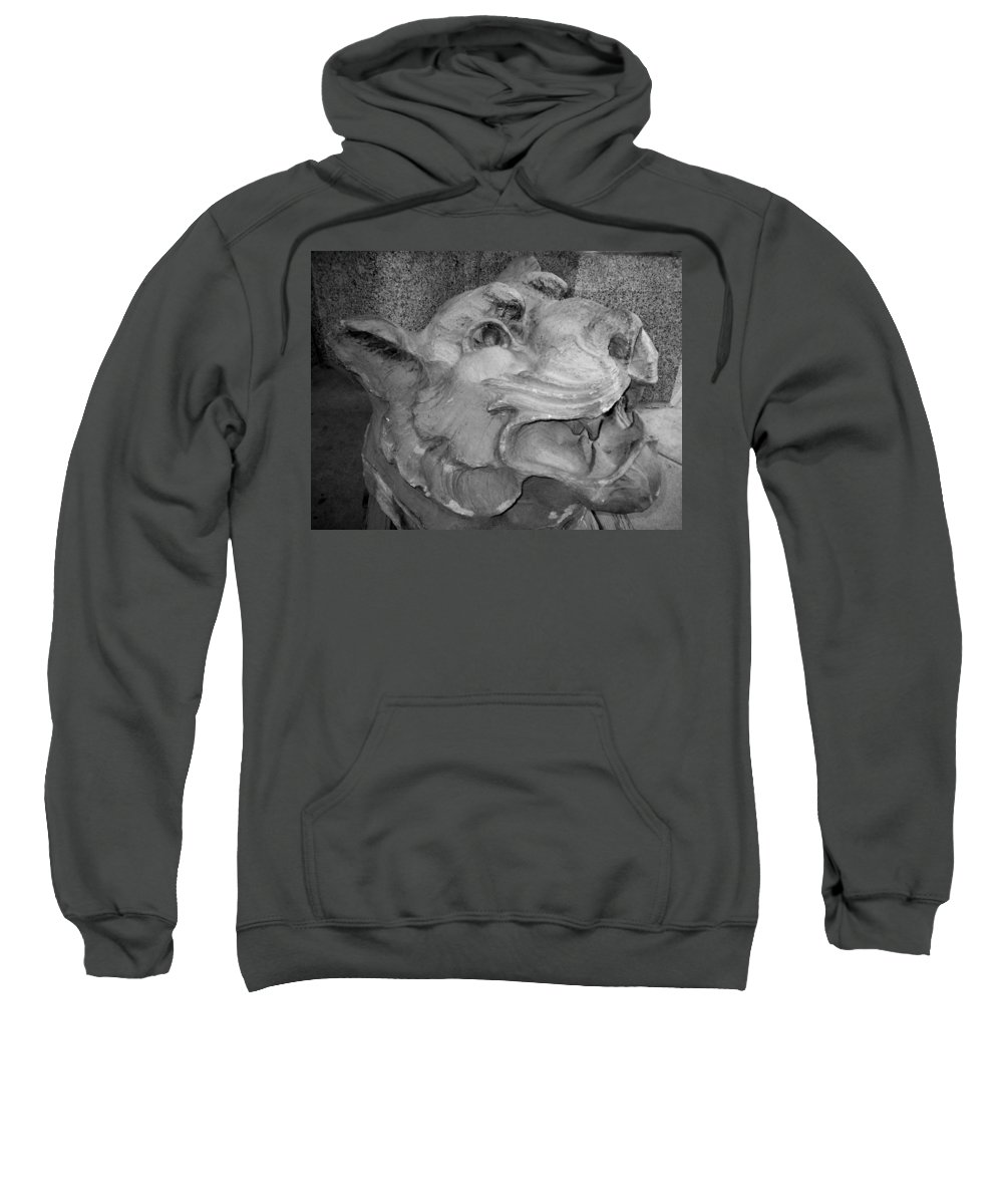 Sculpture Sweatshirt featuring the photograph Stone Lion by Anita Burgermeister
