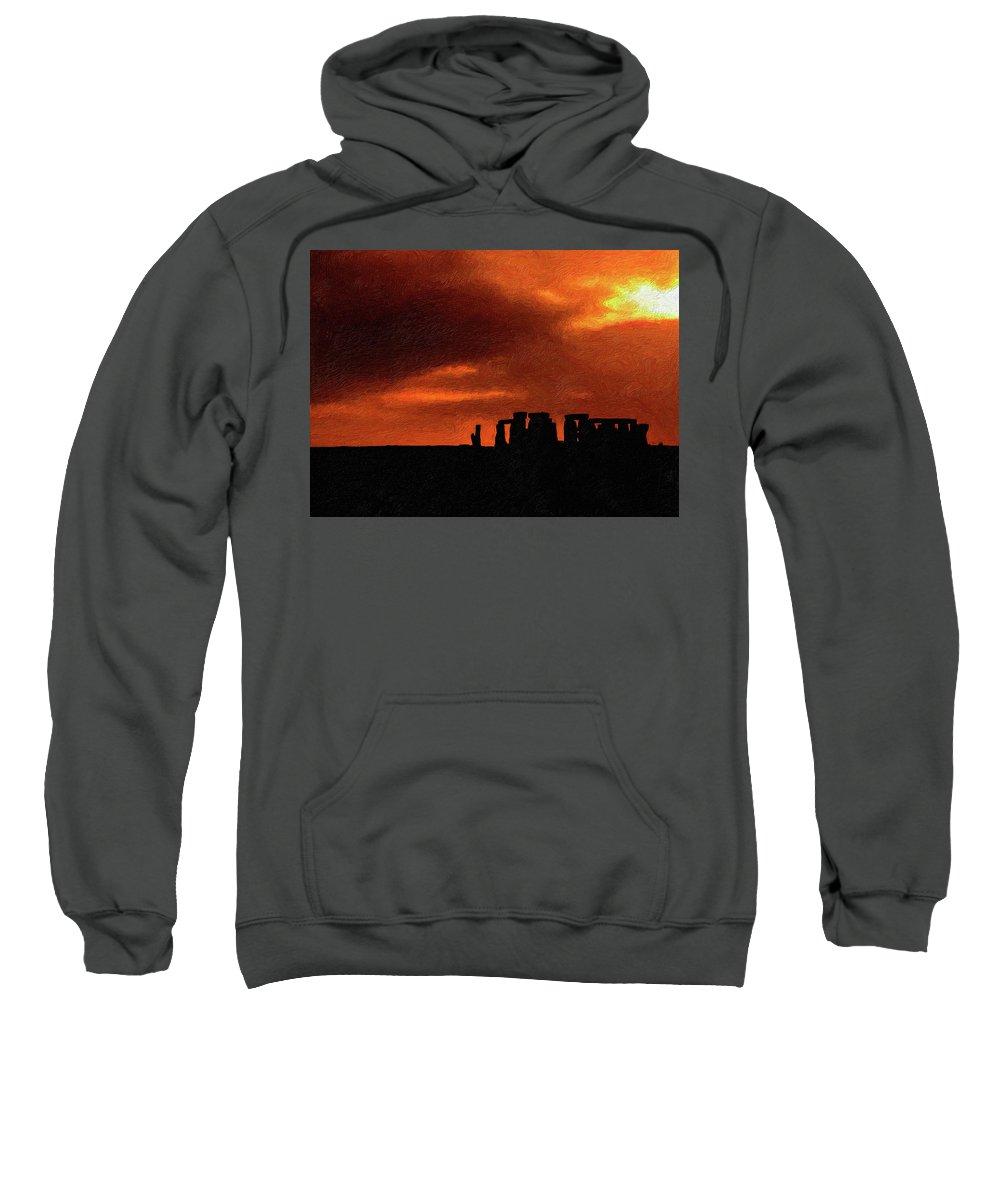 Stonehenge Sweatshirt featuring the photograph Stonehenge Impasto 2 by Steve Harrington