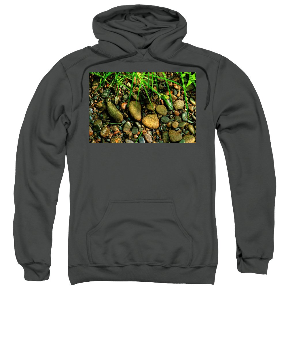 River Stone Sweatshirt featuring the photograph Stones Beside The Stream by Mike Eingle