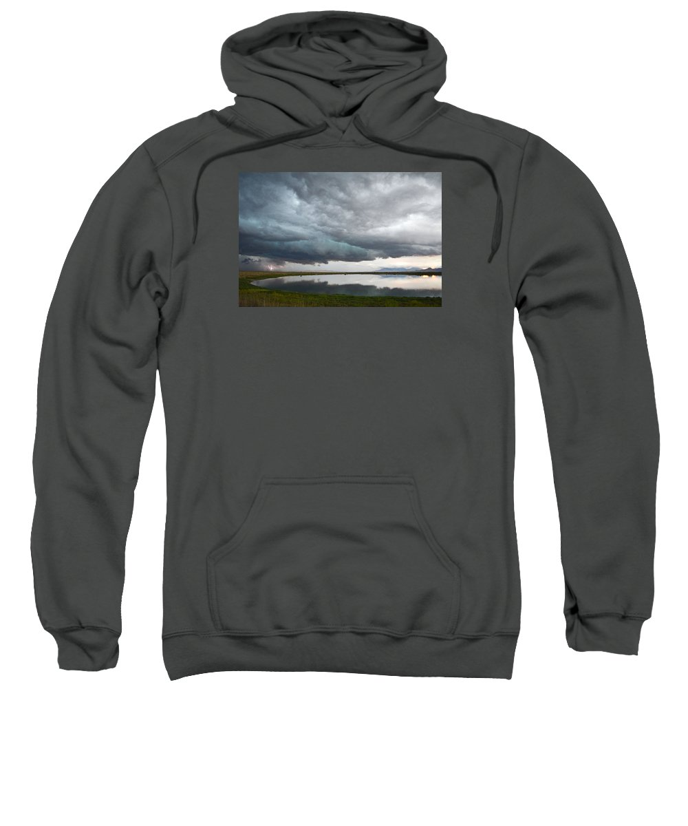 Lightening Sweatshirt featuring the photograph Storm Brewing by Brent Hall