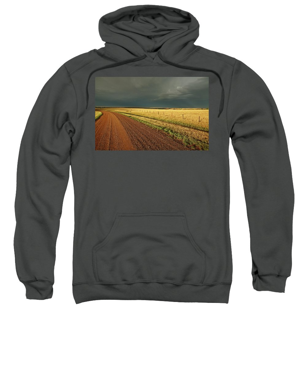 Roadside Sweatshirt featuring the digital art Storm Clouds Along A Saskatchewan Country Road by Mark Duffy