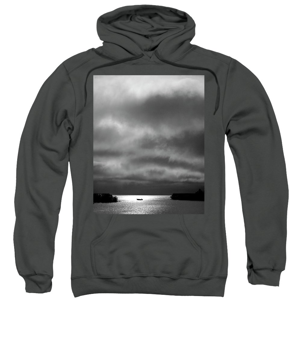Sweatshirt featuring the digital art Storm Clouds Approaching Boat On Northern Saskatchewan Lake by Mark Duffy