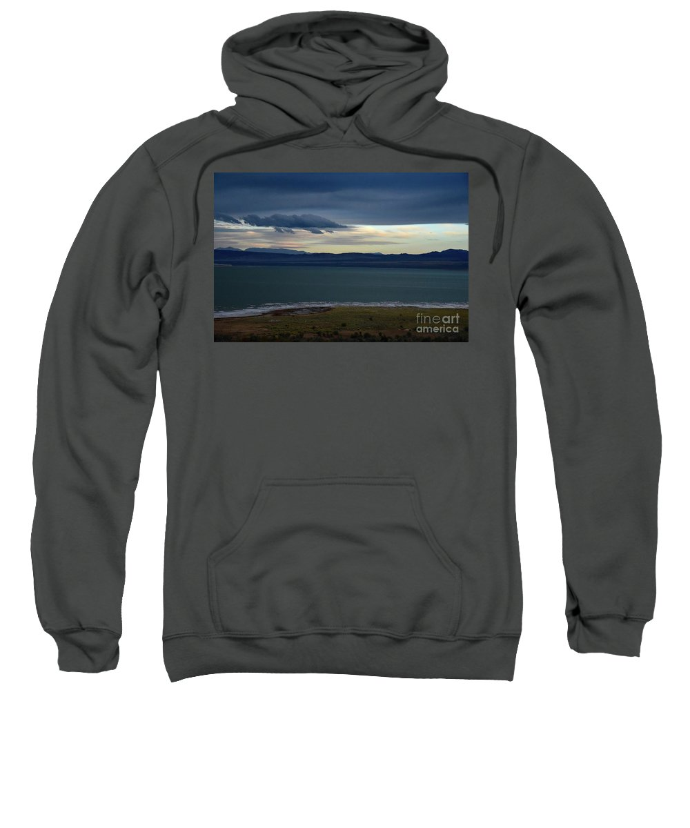 Mono Lake Sweatshirt featuring the photograph Storm Clouds Over Mono Lake by Bruce Chevillat