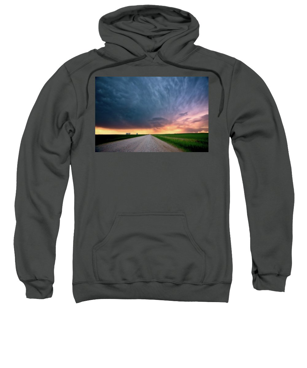 Grain Sweatshirt featuring the digital art Storm Clouds Over Saskatchewan Country Road by Mark Duffy