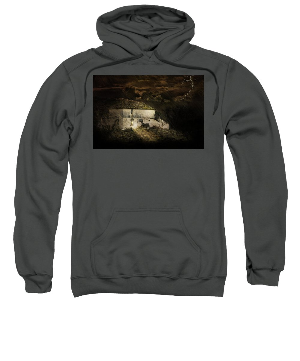 Black Sweatshirt featuring the photograph Storm Over Old Country House by Peter Hayward Photographer