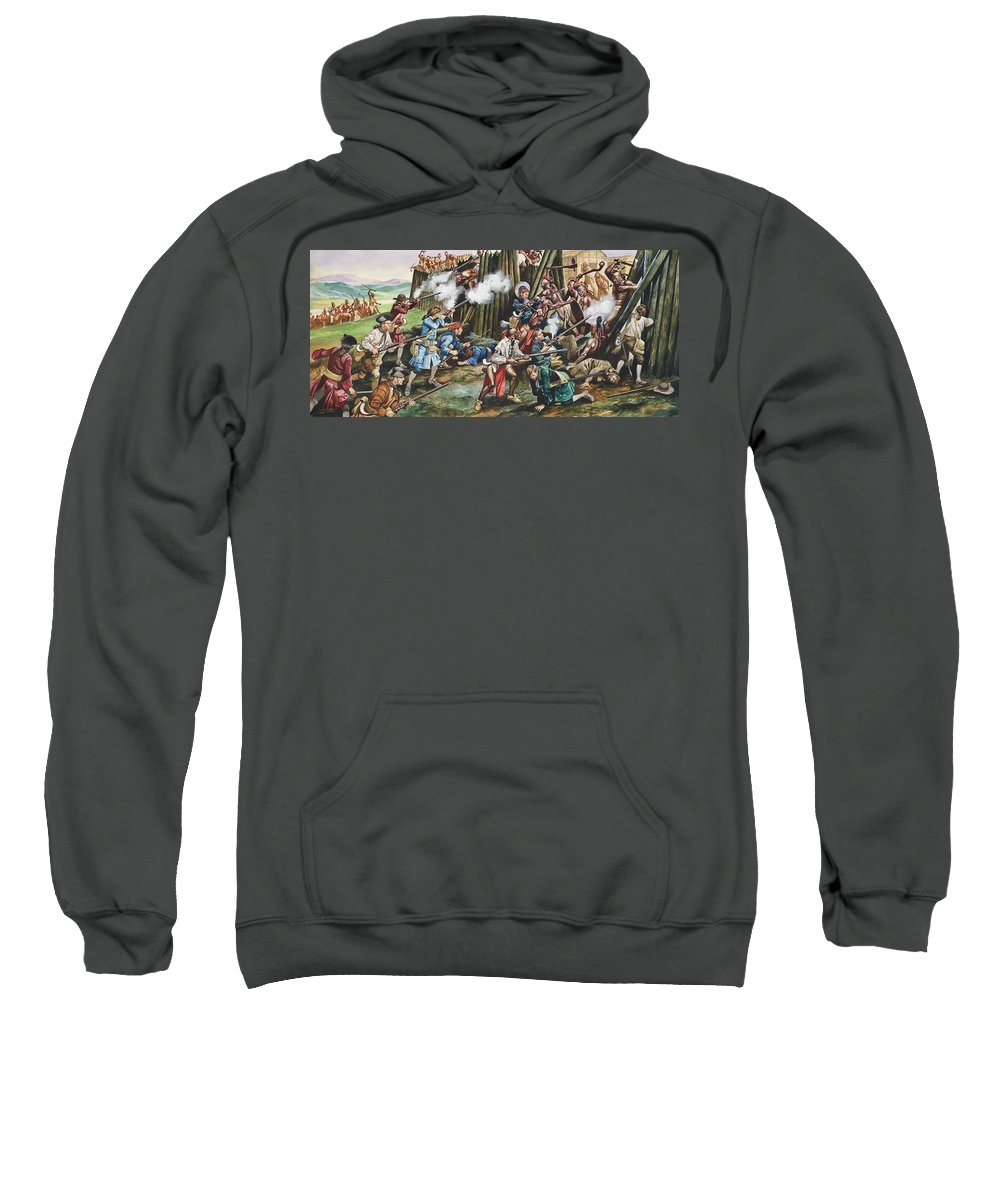 American Indian; Native; Soldier; Gun; Fortress; Axe; Tribe; Troop; Musket; Smoke; Fence; Fighting; Attack; Casualty; North Carolina; Battle; Siege; Revolt; Children's Illustration; Cherokee; Fort Sweatshirt featuring the painting Storming Of The Fortress Of Neoheroka by Ron Embleton