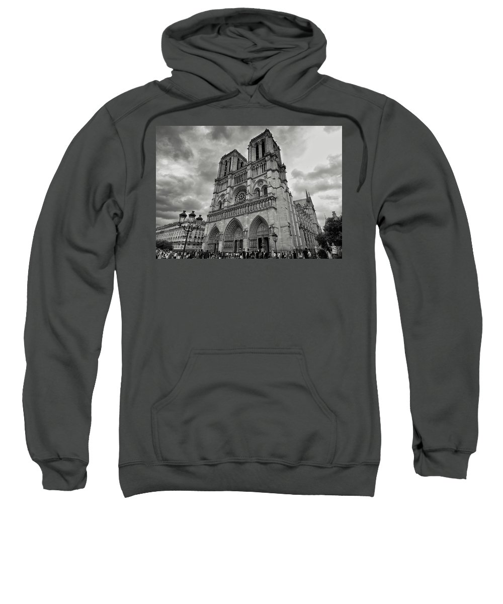 Parisian Sweatshirt featuring the photograph Stormy Views Of Notre-dame by Scott Hippensteel