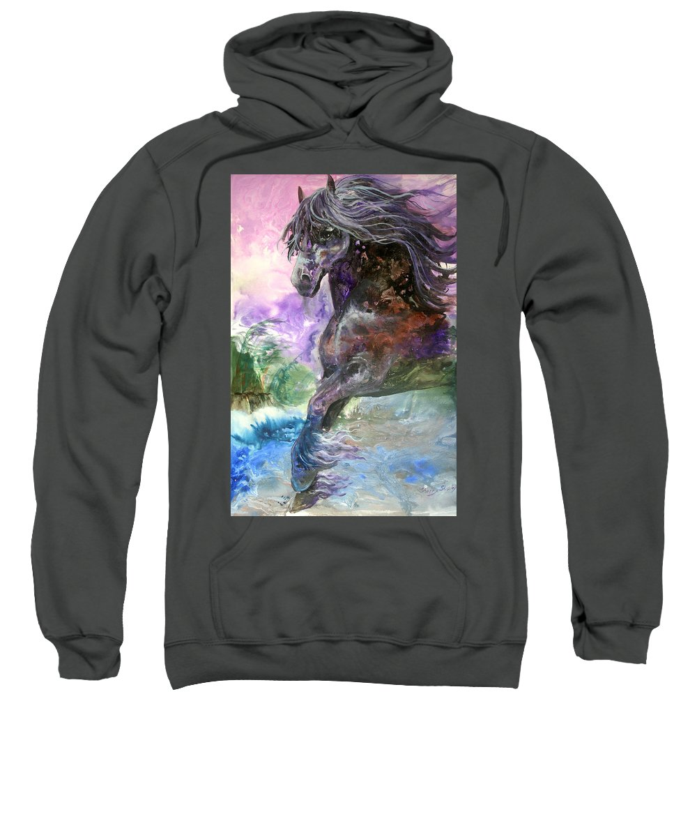 Horse Sweatshirt featuring the painting Stormy Wind Horse by Sherry Shipley